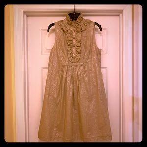 A.B.S. Tan Dress with ruffle neckline